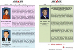 MIB Research Seminar Series Term 2, 2013-14